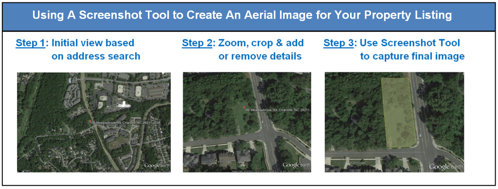 Steps for Using A Screenshot Tool to Create Aerial Property Images