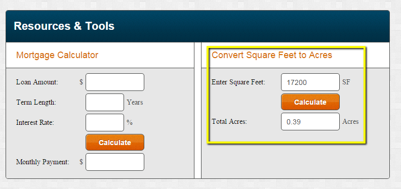 Tool for converting square feet to acres